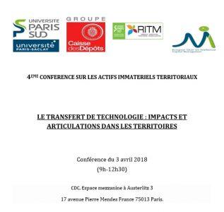 4ème conférence sur les Actifs Immatériels Territoriaux – Paris, 3 avril 2018