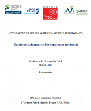 5ème conférence sur les Actifs Immatériels Territoriaux – Paris, 28 novembre 2019