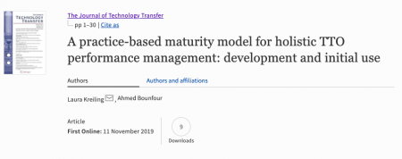 Publication in the Journal of Technology Transfer